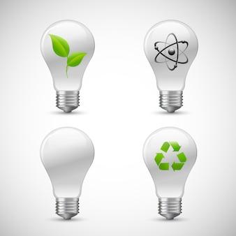 Lightbulb eco zestaw ikony nauki