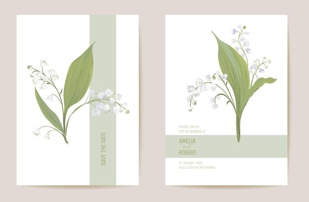 Lilia ślubna kwiatowy zapisz zestaw daty. wektor wiosennych kwiatów, liści boho zaproszenia. akwarela szablon pastelowa ramka, okładka walentynki, nowoczesny wzór tła, tapeta