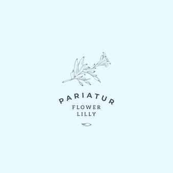 Lilly kwiat streszczenie wektor znak, symbol lub szablon logo.