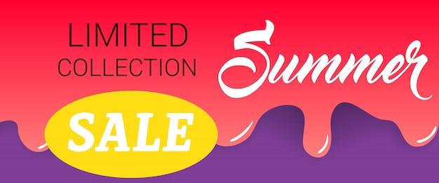 Limitowana kolekcja, lato, napis sprzedaż na kapiącą farbą. letnia oferta lub reklama sprzedażowa