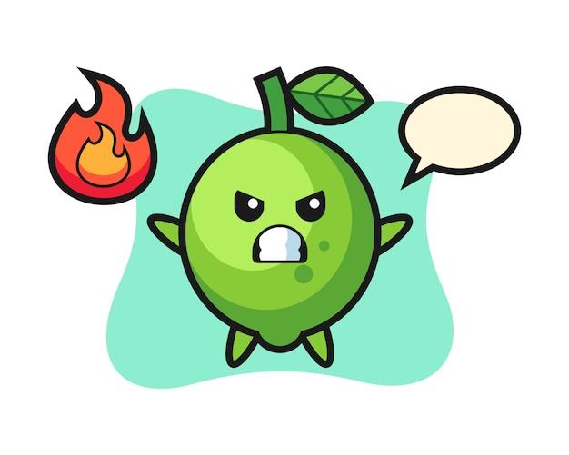 Limonka postać z kreskówki z gniewnym gestem, ładny styl, naklejka, element logo