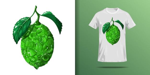 Limonkowy nadruk na koszulkę.