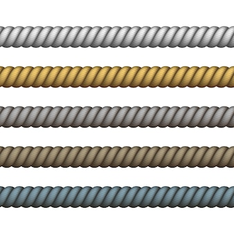 Lina żeglarska cienka i gruba. skręcona lina wspinaczkowa na lasso lub węzły morskie. granatowa lina w innym kolorze na obramowanie lub ramkę.