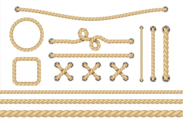 Lina żeglarska. okrągłe i kwadratowe ramy linowe, brzegi sznurka.