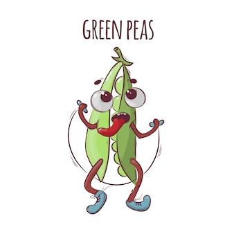 Lina zielony groszek sport warzywo kreskówka odżywianie natura ręcznie rysowane ilustracja