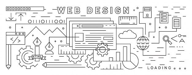 Line art design. motyw web design. czarno-biały cienki projekt linii
