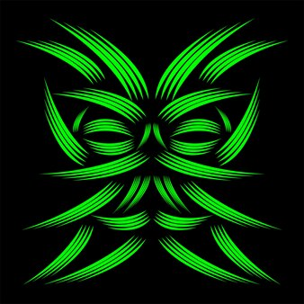 Line art green masking abstrakcyjny wzór geometryczny