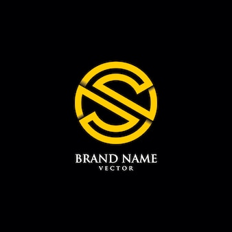 Line art monogram s symbol logo szablon