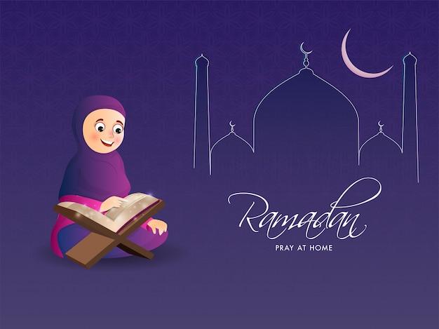 Line art mosque z półksiężycem i muzułmańską dziewczyną czytającą koran na ramadanie modlić się w domu koncepcja.