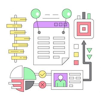 Linearne infografiki biznesowe