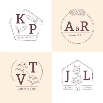 Linearne płaskie monogramy ślubne/logo