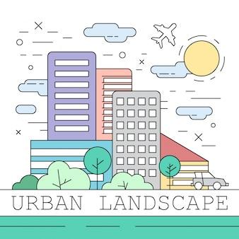 Linearny krajobraz miejski ilustracji