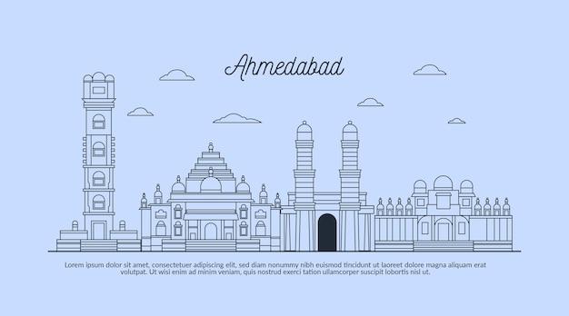 Linearny szkic ahmedabad skyline