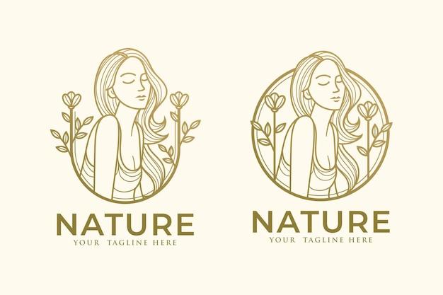 Lineart kobieta natura złoto logo szablon