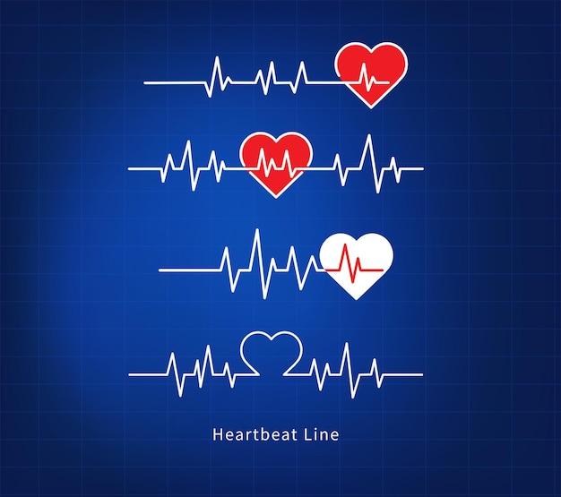 Linia bicia serca na niebieskim tle