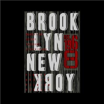 Linia brooklyńska streszczenie grafika typografia projekt denim vintage