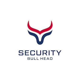 Linia byka z logotypem z długim rogiem do ilustracji do projektowania logo w handlu lub w sporcie