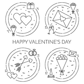Linia cienkie ikony banner na temat Walentynki i datę świętego Walentego.