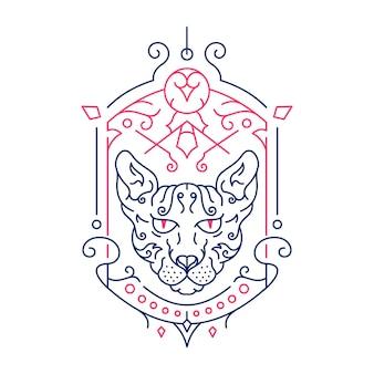 Linia dekoracyjna ozdoba kota sfinksa