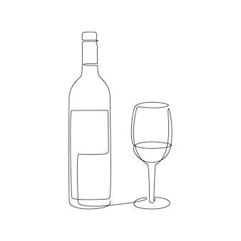 Linia do butelek wina i szkła. ciągły czarny rysunek jednej linii. ilustracja