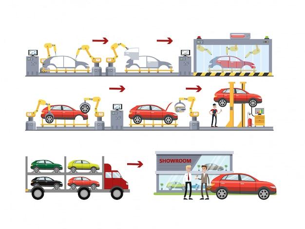 Linia do produkcji samochodów ustawiona na białym tle.