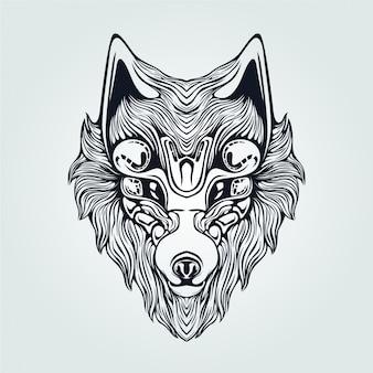 Linia głowy dekoracyjna twarz wilka na tatuaż