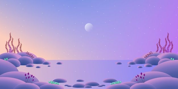 Linia horyzontu krajobraz z kolorowym wieczór nieba i morza tła ilustracją