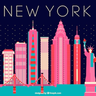 Linia horyzontu nowy york z różowymi budynkami