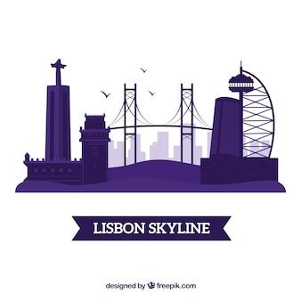 Linia horyzontu sylwetka lisbon miasto