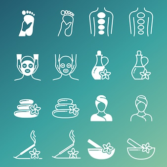 Linia i zarys masaż i relaksujące wektorowe ikony