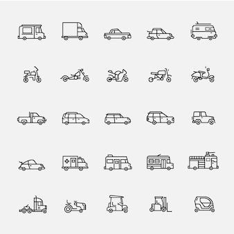 Linia ikon pojazdu wektor