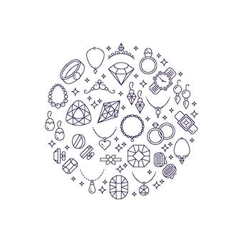 Linia ikon wektorowych biżuterii i kamieni szlachetnych. luksusowa koncepcja sklepu jubilerskiego