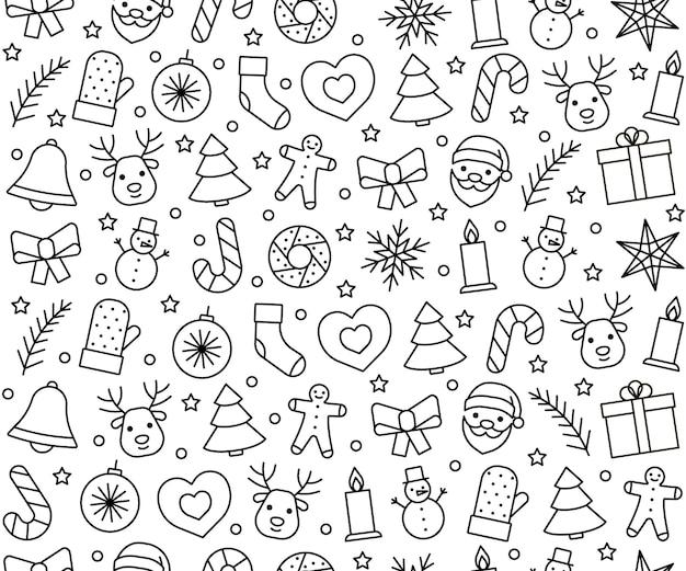 Linia ikony wzór na boże narodzenie i nowy rok. tło wakacje. ilustracja wektorowa