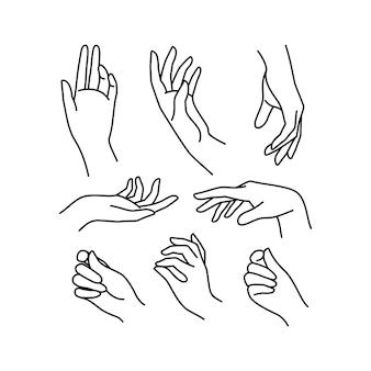 Linia kolekcji ikona kobiecej dłoni. ilustracja wektorowa eleganckich kobiecych rąk o różnych gestach. lineart w modnym minimalistycznym stylu.