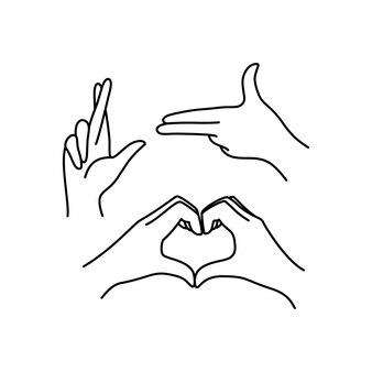 Linia kolekcji ikona kobiecej dłoni. ilustracja wektorowa eleganckich kobiecych rąk o różnych gestach - symbol pistolet, szczęście, serce. lineart w modnym minimalistycznym stylu.