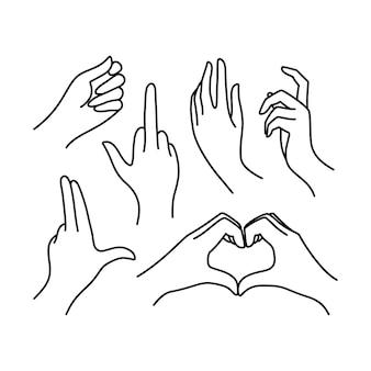 Linia kolekcji ikona kobiecej dłoni. ilustracja wektorowa kobiecych rąk różnych gestów - symbol pistolet, pierdol się, serce. lineart w modnym minimalistycznym stylu.