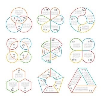 Linia koło, trójkątne, sześciokątne, pięciokątne infografiki biznesowe