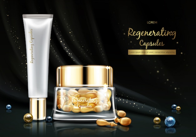 Linia kosmetyków nocnych z olejkiem regenerującym skórę lub esencją realistycznego transparentu wektorowego.