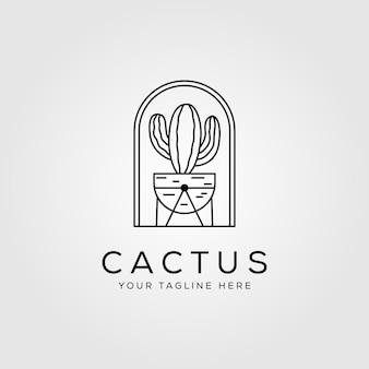 Linia logo minimalistyczny charakter kaktusa
