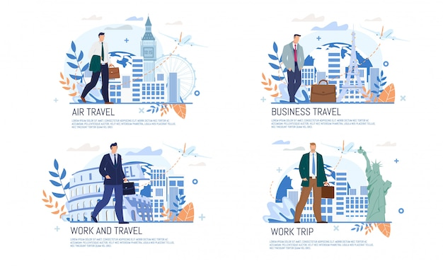 Linia lotnicza business travel services flat banner