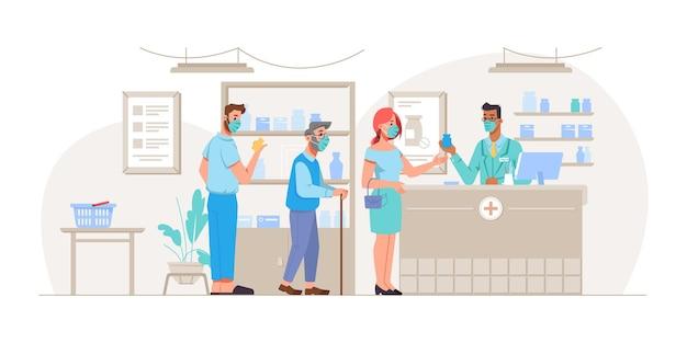 Linia lub osoby noszące maski ochronne stojące w kolejce w aptece sklep pacjenci młodzi i starsi