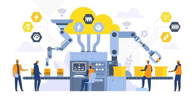 Linia montażowa z płaską ilustracją ramion robota. robotnicy płci męskiej i żeńskiej, inżynierowie postaci z kreskówek. zautomatyzowany proces produkcyjny, zaawansowane technologicznie maszyny. koncepcja rewolucji przemysłowej