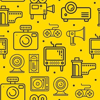 Linia multimedialna ikony wzór.