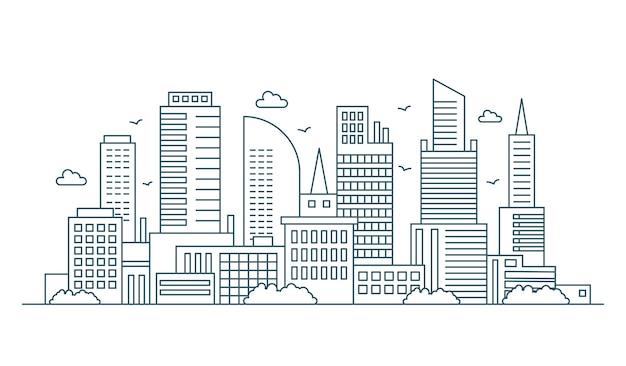Linia nowoczesna panorama dużego miasta miejskiego. zarys obrysu pejzaż miejski ilustracja drapaczy chmur