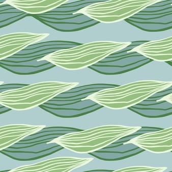 Linia organiczna pozostawia wzór na jasnoniebieskim tle. streszczenie tło botaniczne. tapeta natura. projekt na tkaninę, nadruk na tkaninie, opakowanie, okładkę. prosta ilustracja wektorowa.