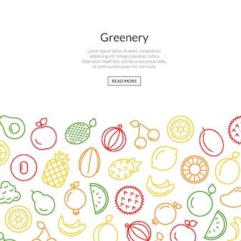 Linia owoce ikony kolorowy styl
