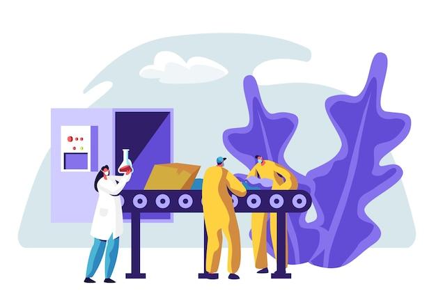 Linia produkcyjna śmieci w fabryce recykling sortowanie śmieci. ilustracja koncepcja procesu usług recyklingu przemysłowego