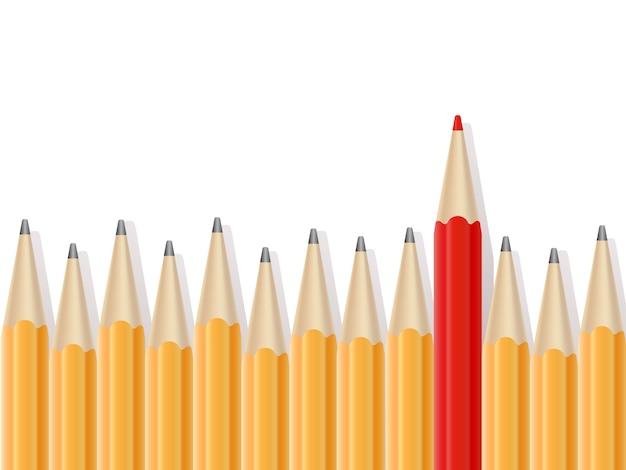 Linia prostych ołówków i jeden czerwony ołówek.