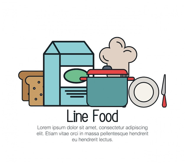 Linia pyszne jedzenie na białym tle ikona