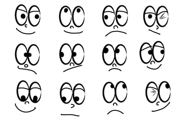Linia, rysunek kreskówka twarze zestaw